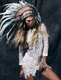 i dunno about the massive feathered headdress but maybe a toned down simpler version... love the tunic