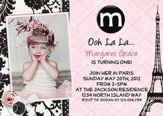 Paris Theme Birthday Invitation Damask Pink Printable Photo Card. $16.00, via Etsy.