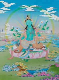A precious, modern rendering of Green Tara in all her beauty. Modern style.