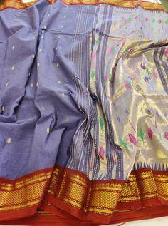 Light purple pure cotton saree with butta All over and Rich Paithani Pallu