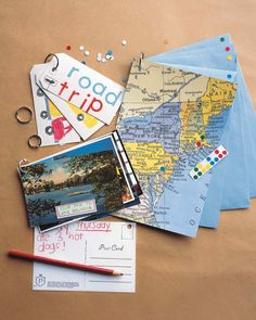 Ring-Bound Travel Books | Martha Stewart Living - Kids can put together a scrapbook on the road with loose-leaf rings, making the drive as much fun as the destination. Bring some supplies, such as a hole punch, along for the ride.