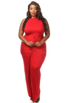 Plus Size Sleeveless Front Twist Slit Maxi Dress Plus Size Dresses, Sexy Dresses, Plus Size Outfits, Dress Outfits, Summer Dresses, Formal Dresses, Pink Clubwear, Maxi Dress With Slit, Plus Size Women
