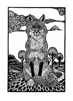 Fox, limited edition linocut print by by Matthew Simos, Lino cut, my favourite print maker at the moment. Art And Illustration, Fuchs Illustration, Illustrations, Linocut Prints, Art Prints, Block Prints, Fox Art, Wood Engraving, Tampons