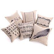 Sæt med 6 Moderne Text Bomuld / Linen Dekorat... – DKK kr. 394