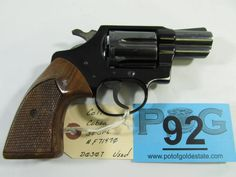 Lot 92 in the July 16th auction! Colt Model Cobra in .38 SPL Double Action Revolver. Firearms condition and features are as follows: The revolver was manufactured in 1974 and still retains 95% of its finish. It does have some holster wear from normal use. The grips are original but do have some slight handling markings. This would make for a nice conceal carry!