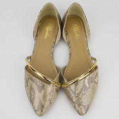 Womens-Light-Gold-Pointy-Toe-D-orsay-Sideless-Slip-on-Flat-Paprika-Arovia-S