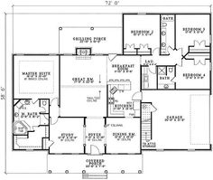 **12-27-17** Traditional Style House Plan - 4 Beds 3.00 Baths 2493 Sq/Ft Plan #17-1176 Floor Plan - Main Floor Plan - Houseplans.com Home Design Floor Plans, Plan Design, House Floor Plans, House Plans And More, Best House Plans, Master Suite Bedroom, Girls Bedroom, Master Bath, Home Addition Plans