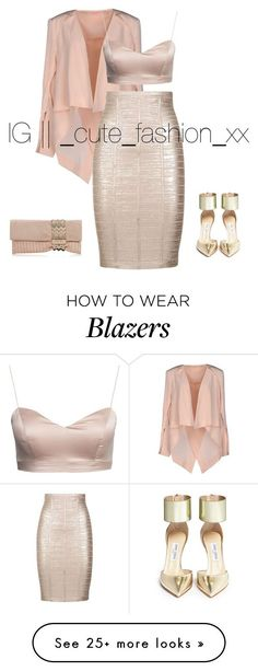 """Fashionable"" by alineavila on Polyvore featuring sass & bide, Hervé Léger and Jimmy Choo"