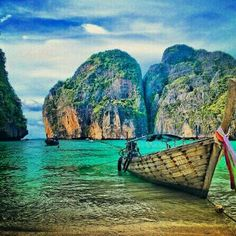 Stunning Thailand! The Thai longtail boats are always adorned with brightly coloured decorations.