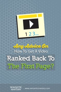 Any Advice On How To Get A Video Ranked Back To The First Page? See How This Effective #SEO Is Done ...... via http://semanticmastery.com/any-advice-on-how-to-get-a-video-ranked-back-to-the-first-page/ This is a question from an attendee that asked at one of our Free weekly Hump Day Hangouts here http://semanticmastery.com/humpday.