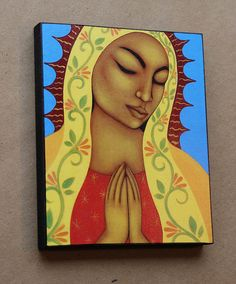 Virgin de Guadalupe Folk Art Wood Mounted Print by goddessgallery, $50.00