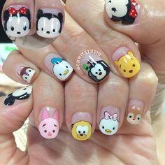Disney tsum tsum nails Disney must stop nails Disney Nail Designs, Creative Nail Designs, Creative Nails, Nail Art Designs, Disney Acrylic Nails, Disney Nails, Christmas Manicure, Christmas Nail Art, Cute Nail Art
