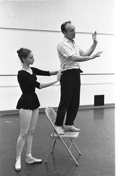 "New York City Ballet - rehearsal of ""Don Quixote"" with Suzanne Farrell and George Balanchine, choreography by George Balanchine (New York) George Balanchine, Safety Dance, Ballet Painting, Dance All Day, Vintage Ballet, City Ballet, Ballet Photos, Photographs Of People, Dance Pictures"