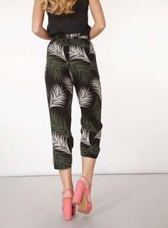 Womens Black Palm Print Curve Hem Trousers- Black