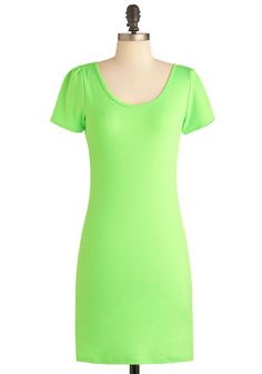 Lunch Lime Dress - Short, Green, Solid, Casual, Vintage Inspired, 80s, Sheath / Shift, Short Sleeves, Spring