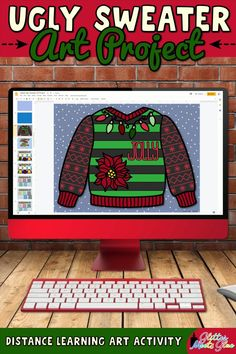 Need easy, digital Christmas art projects for kids that work for both in-person and distance learning? Make an ugly sweater with festive holiday graphics in Google Slides using basic computer skills. Winter-themed graphics like mittens, snowman, & snowflakes included for kids who don't celebrate. Use this art lesson to teach about space. Incorporate literacy into your lessons with the included writing prompts! Perfect for 1st grade through 5th grade elementary students. | Glitter Meets Glue Christmas Art Projects, Christmas Arts And Crafts, Projects For Kids, 5th Grade Reading, Winter Theme, Holiday Festival, Art Activities, Elementary Art, Ugly Sweater