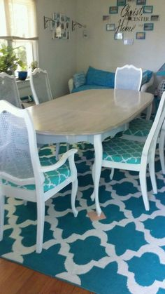 French Provincial dining set turned Coastal! Facebook.com/coastalcottageinteriors