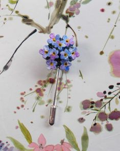HAND PAINTED Blue FORGET-ME-NOT POSE Pin Wedding Corsage Masonic Lapel Flower #HANDMADEARTISTKerryWilliams