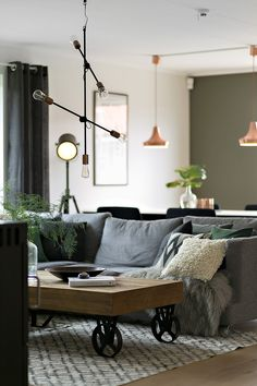 pendant lamp, industrial style table, living room