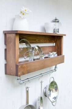 Manchester Rustic Farmhouse Industrial Shelf With Pot Rack Utensil Holder