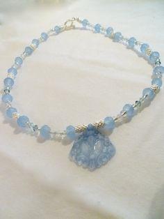 Pastel Blue and Silver Glass Bead & Swarovski Crystal by StudioCKH, $48.00