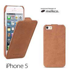 Melkco Brown Jacka Type Premium Leather Flip-Down Case for Apple iPhone 5 5S