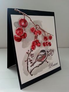 """Penny Black """"Berry Merry Christmas"""" stamp paired with Berry Cluster Die & Penny Black """"Ode to Christmas"""" bird stamp & die (xmas3, +)"""