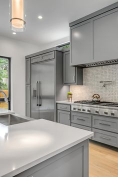 Recently, white and brown wood cabinetry are being ditched for rich greys. In fact, they are the perfect balance of both warm and neutrality. This modern and popular color works well in nearly any size kitchen. #greykitchen #greycabinets #cabinetsdirectusa #kitchendesigns #kitchendecor #kitchen #modern #modernkitchen #interiordesignideas Kitchen Cabinet Remodel, Spray Kitchen Cabinets, Kitchen Remodel, Update Kitchen Cabinets, Kitchen, Clean Kitchen Cabinets, Clean Kitchen, Kitchen Cabinets On A Budget, Kitchen Cabinets