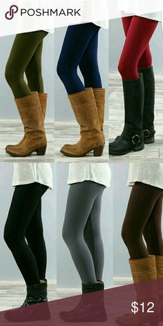 Fleece leggings New one size regular: small-large plus: xlarge-3xl, fleece and spandex material. very thick and warm not see through, colors available  black brown red Burgundy  charcoal  navy blue royal blue violet olive Pants Leggings