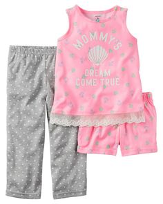 Baby Girl 3-Piece Jersey PJs from Carters.com. Shop clothing & accessories from a trusted name in kids, toddlers, and baby clothes.
