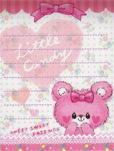 pink mini Memo Pad teddy bear plush animal Japan kawaii 3