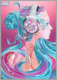 Headphone girl drawing    Missin' Like Candy by ~incredibledarlz04 on deviantART