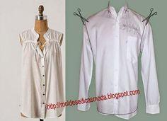Moldes Moda por Medida: RECICLAGEM DE CAMISA - 7 #DIY #reciclaje #camisa
