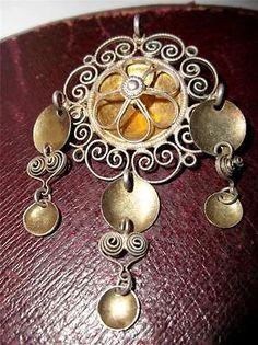 Antique 830 silver Norwegian Traditional SOLJE Wedding Brooch , Scandinavian