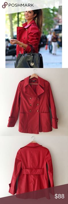 DKNY Short RED Trench Coat Stunning Short trench coat and vibrant red by DKNY. Double breasted front. Faux belted back. Two front open pockets. Shell: 59% nylon 38% cotton 3% spandex Lining: 100% polyester. Size Small. EUC. DKNY Jackets & Coats Trench Coats