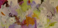 """Of What Is Past Or Yet To Come Diptych 36""""hx72""""wx1.5"""" Acrylic on Canvas Jinnie May"""