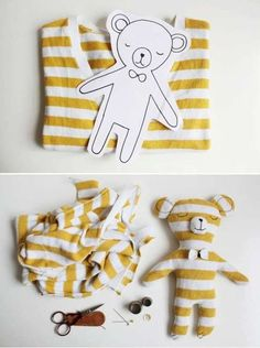 Operation Christmas Child Ideas - Make a teddy bear out of a t-shirt for your OCC shoe box! Fabric Crafts, Sewing Crafts, Sewing Projects, Easy Diy Projects, Craft Projects, Craft Ideas, Craft Tutorials, Diy For Kids, Crafts For Kids