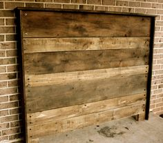interesting reclaimed wood headboard with faux brick accent wall for bedroom Reclaimed Wood Headboard, Reclaimed Wood Projects, Salvaged Wood, Pallet Projects, Diy Projects, Faux Brick, Master Bedroom Design, Do It Yourself Home, Decoration