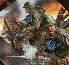 """infantry division """"blue and gray division"""" during D-day 1944 Military Art, Military History, Army Drawing, Military Drawings, Ernst Haeckel, Korean War, Vietnam War, World War Ii, Wwii"""