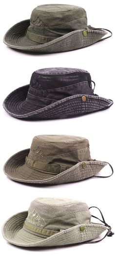 932e242a21f Mens Summer Cotton Embroidery Visor Bucket Hats Fisherman Hat Outdoor  Climbing Mesh Sunshade Cap Fisherman s Hat