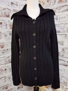 One Step Up New direction Womens Junior sz L Cardigan Sweater Black ribbed  #OneStepUp #Cardigan #Work