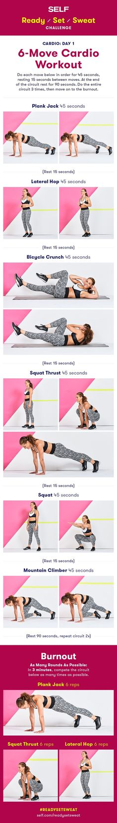 Have you signed up for our October workout challenge? The challenge is 28 days weeks) long consisting of cardio and strength total body exercises that will build muscle and endurance! Get stronger with plank jacks, lateral hops, bicycle Intense Cardio Workout, Cardio Abs, Hiit, Sweat Workout, Cardio Workouts, Workout Guide, Workout Challenge, Bicycle Crunches, Killer Workouts