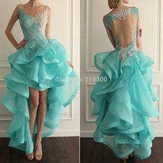 Azul Menta backless Ruffles alto bajo prom vestidos del desfile de baile vestido(China (Mainland))