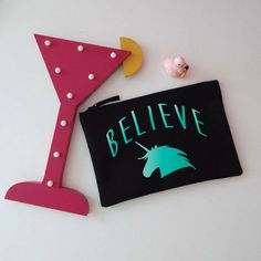 Glitter Unicorn Makeup Bag. Believe In Unicorns. Cosmetic Bag. Zip Pouch. Accessory Bag. Rainbow Unicorn Bag. by SoPinkUK on Etsy