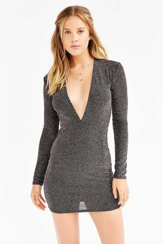 Motel Lynette Shimmer Plunge Dress - Urban Outfitters