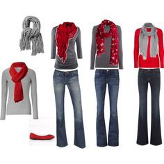 Red and grey - buy a few simple pieces and mix and match. Great idea with any colors.