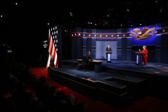 GALLERY: Hillary Clinton and Donald J. Trump faced off Monday night at Hofstra University in Hempstead, N.Y.  Caption:Monday night's debate was expected to draw a record television audience.