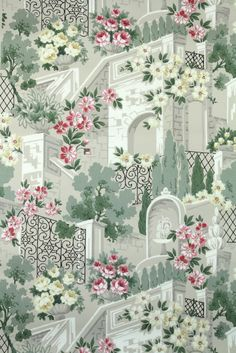 beautiful vintage wallpaper with roses, wrought iron gates, and stone arches.