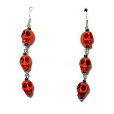 Orange Skull Halloween Dangle Earrings by CloudNineDesignz on Etsy, $15.00