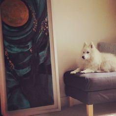 Mo Kelly painting #love Ikea footstool Laura Ashley cushion Japanese Spitz best dog!